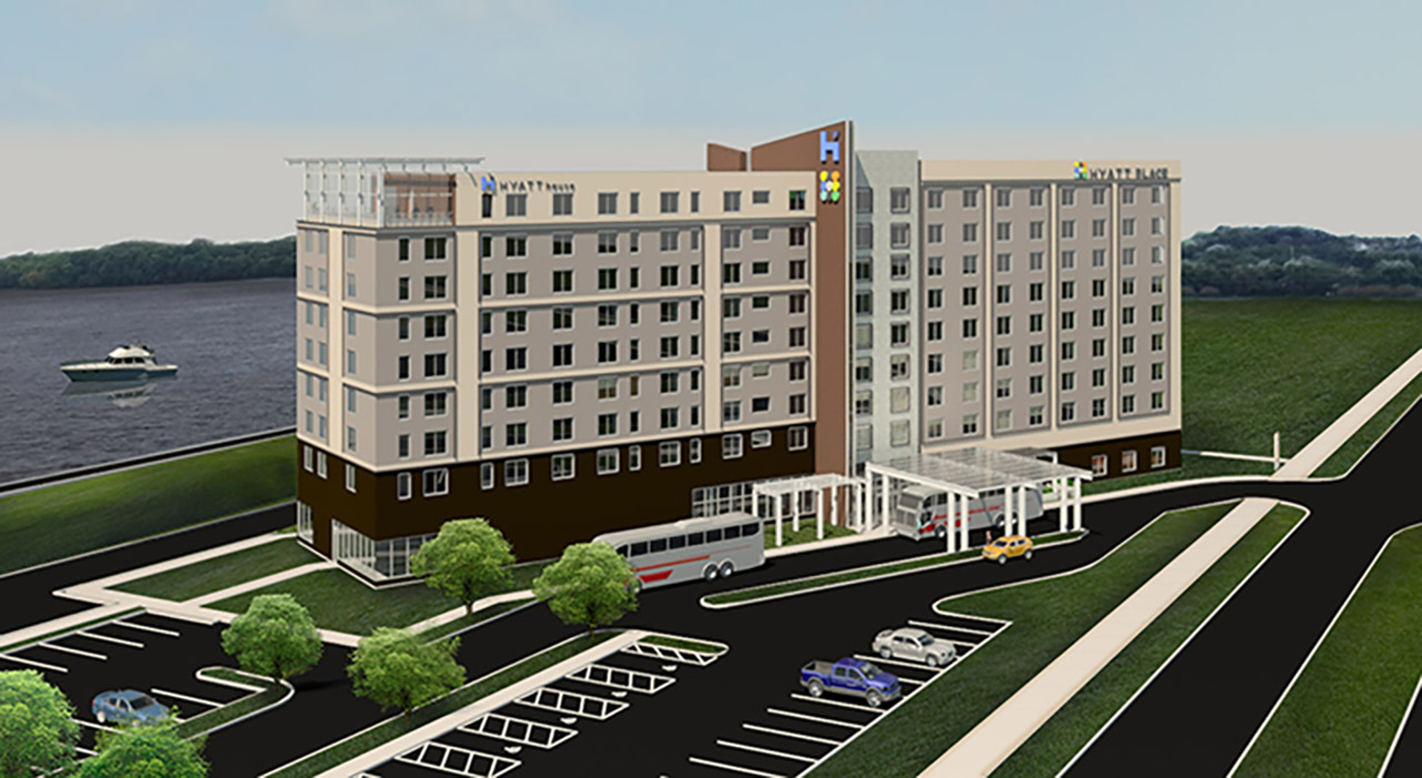 Hyatt Place Hyatt House East Moline Rendering